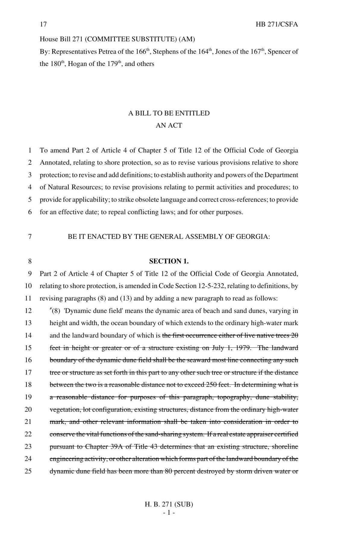House Bill 271 (2018 Version)