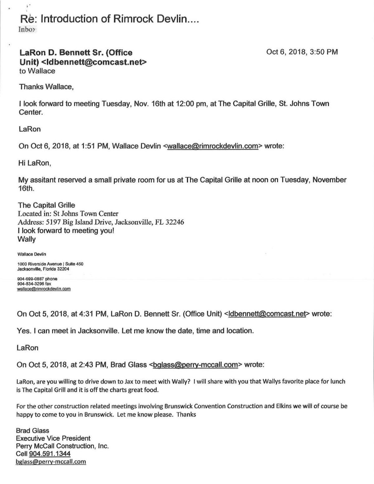 Emails from LaRon Bennett to Mayor Cornell Harvey