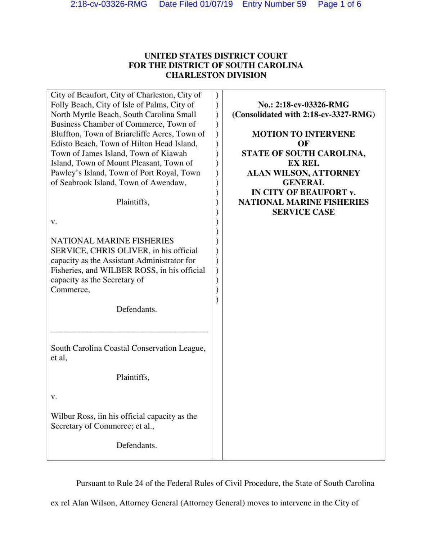 South Carolina's Motion to Intervene