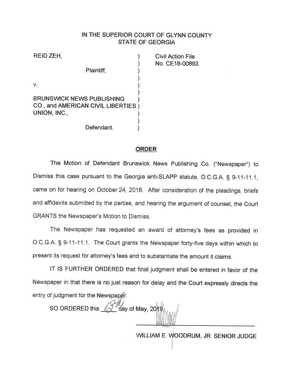 Order in Zeh v. Brunswick News Publishing et. al.