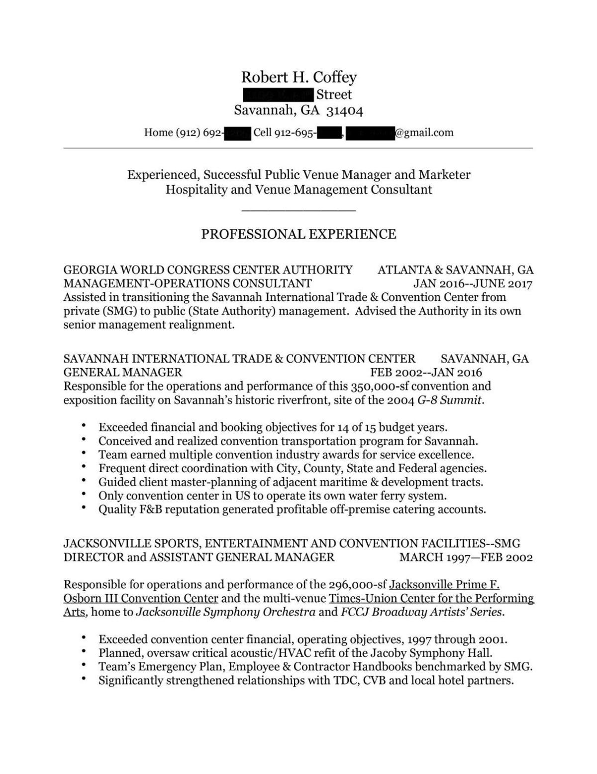 Bob Coffey resume (redacted) | | The Brunswick News