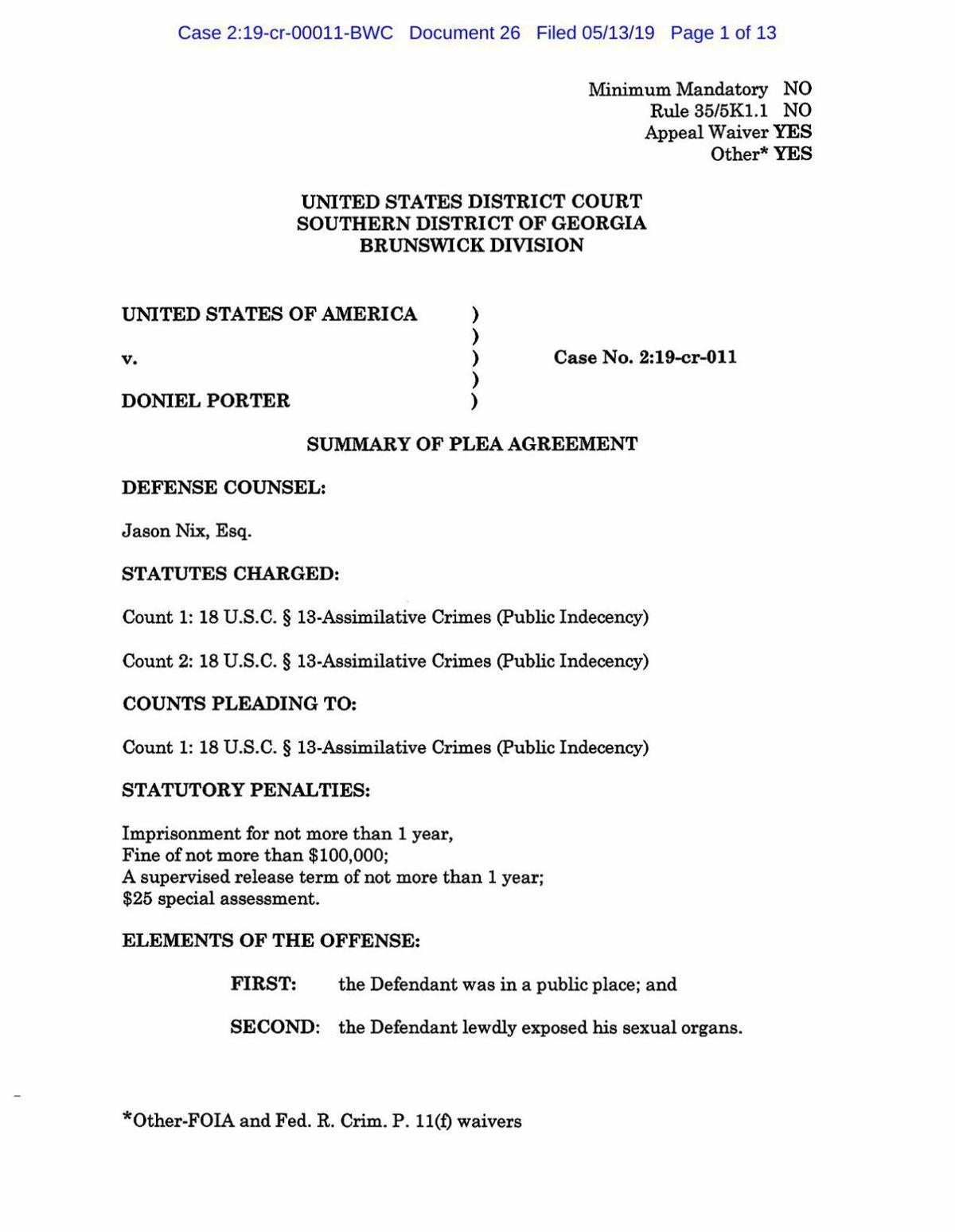 Porter Plea Agreement