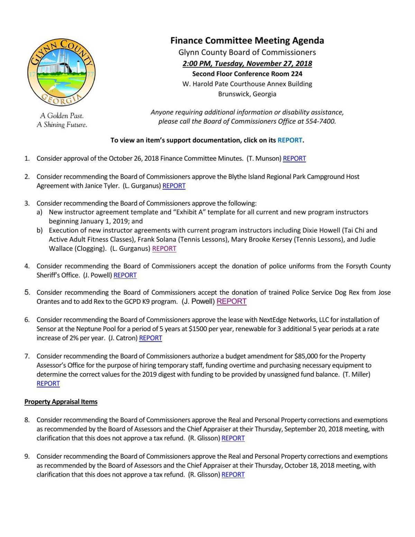 11_27 Finance agenda pdf | | The Brunswick News
