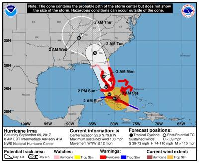 Irma 8 a.m. update, Sept. 9