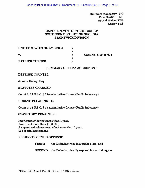 Turner Plea Agreement