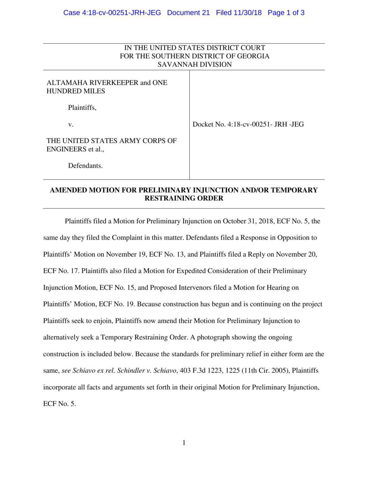 Plaintiffs' Amended Motion for Preliminary Injunction and/or Temporary Restraining Order