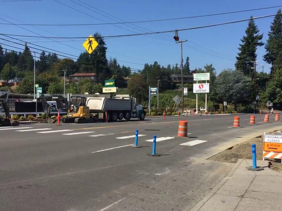 Clatskanie crosswalk construction