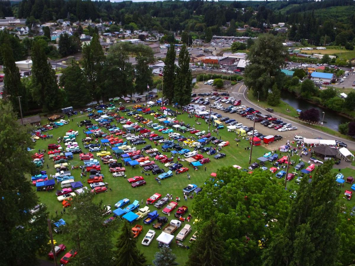 A view from above the Clatskanie Cruisers Car Show