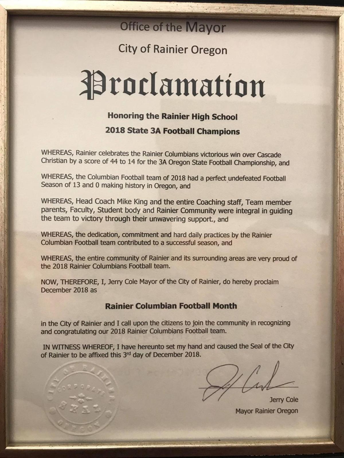 Rainier proclamation for Columbians Football