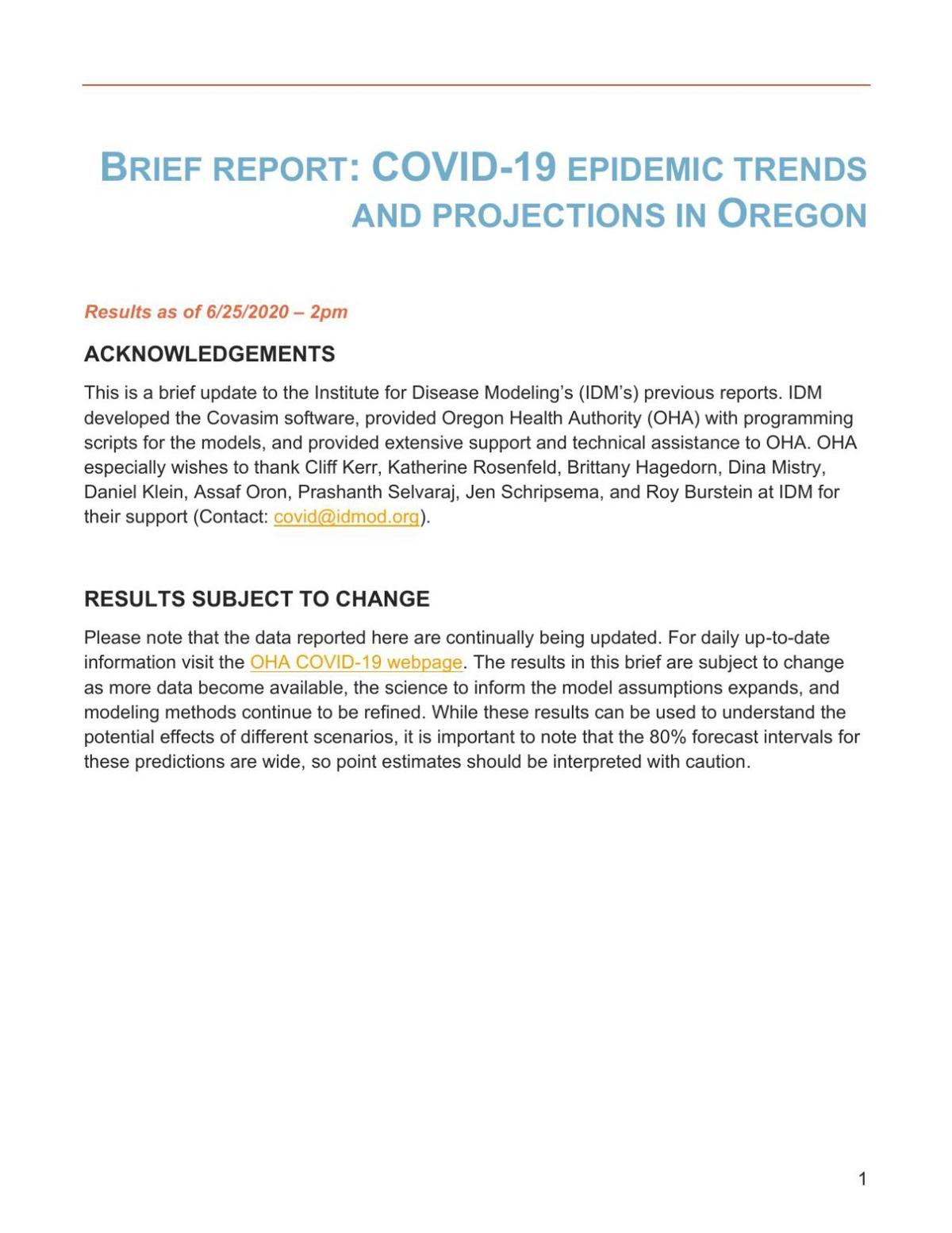 COVID-19 Case Projections