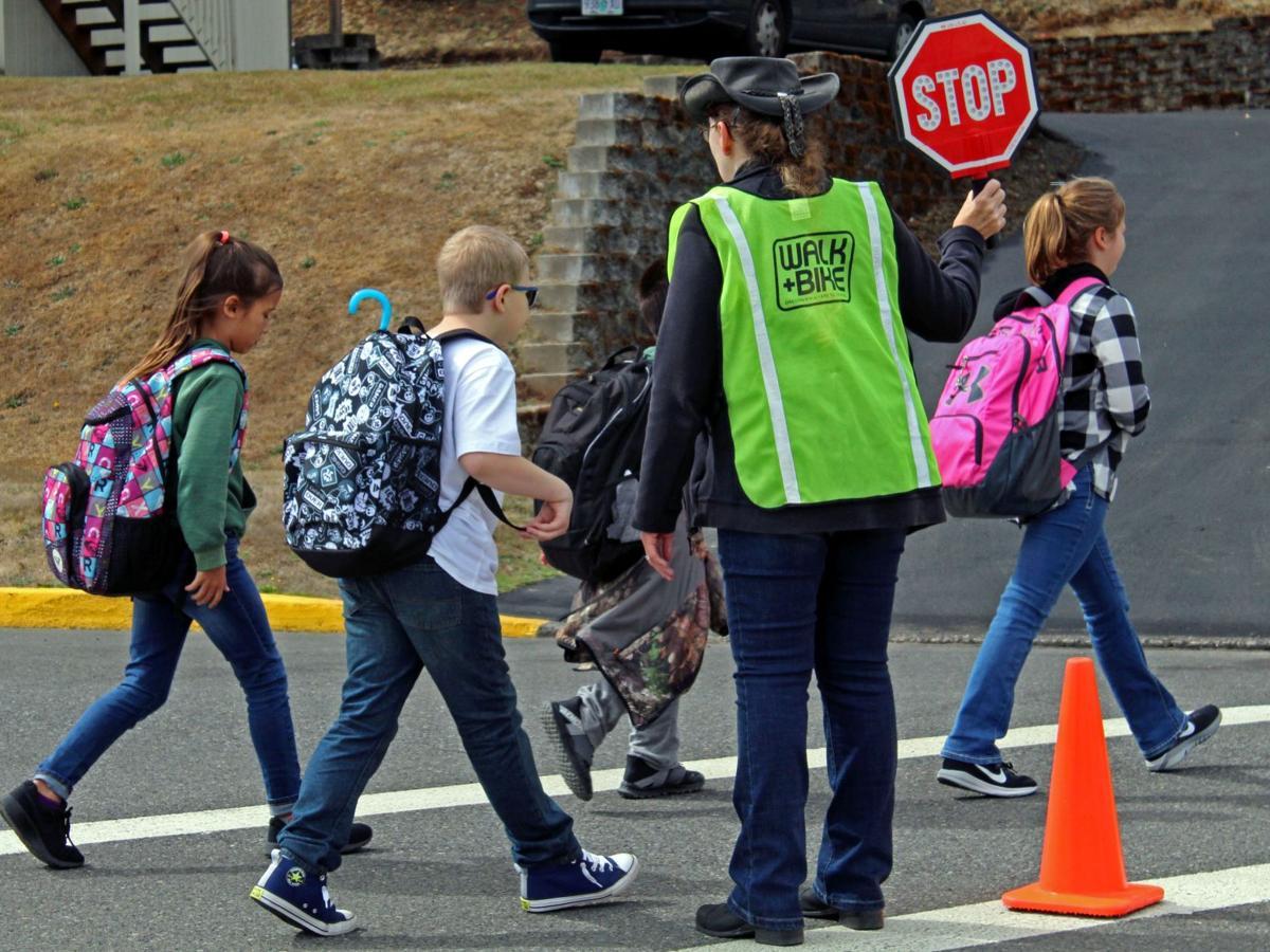 Students in crosswalk
