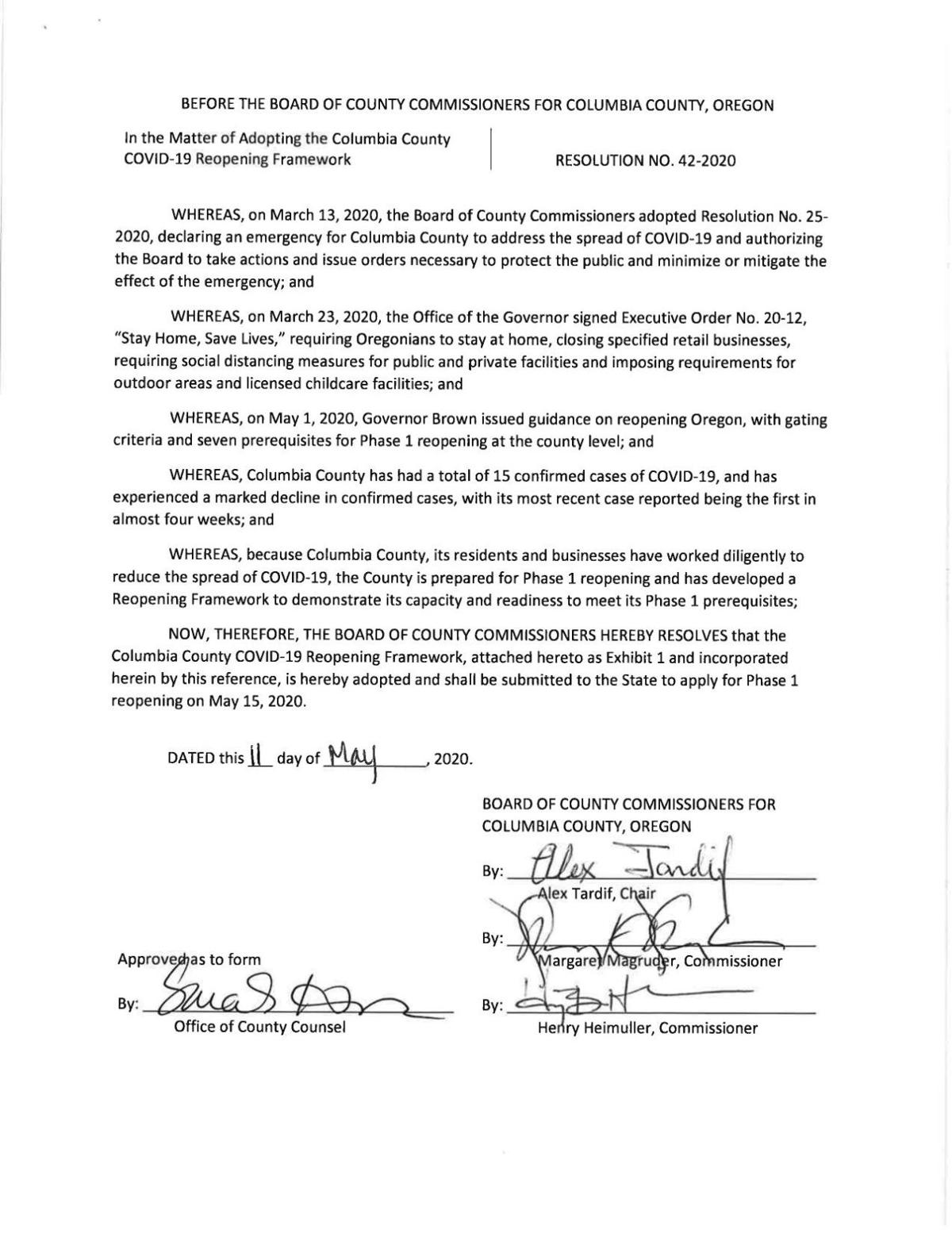 Columbia County Reopening Submission