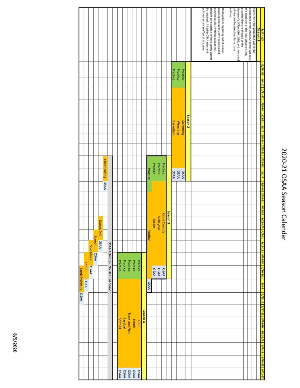 OSAA Season Calendar