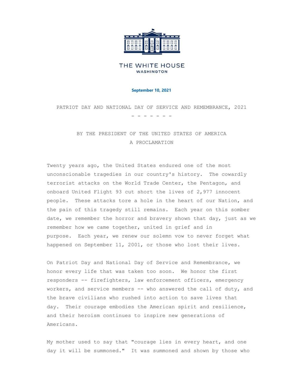 Presidential Proclamation