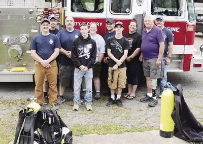 Corry water, rescue firefighers