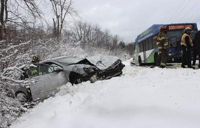 Car v bus collision