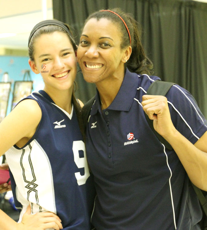Brooklyn Goodsel (left) with five-time Olympian and USA coach Danielle Scott-Arruda.
