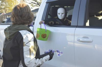Terry Hinton handing out candy