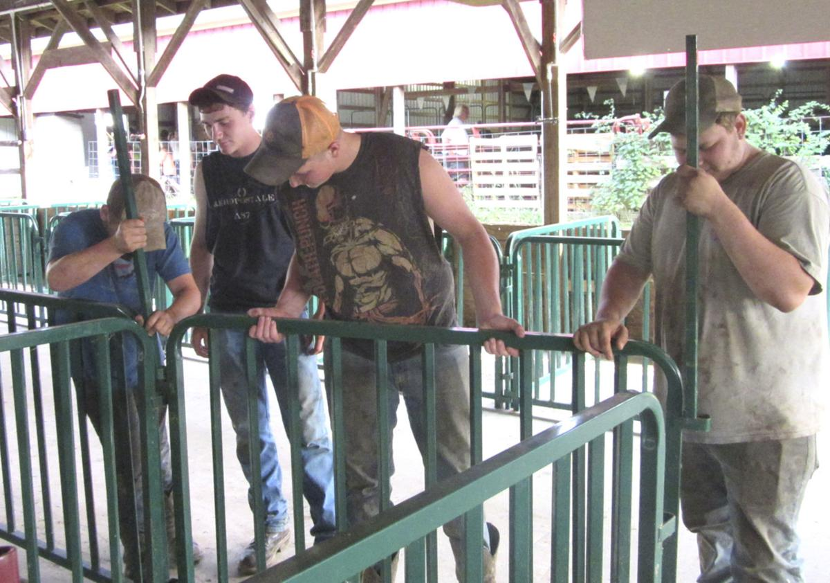 Several youths busy building pens for Jefferson County Fair