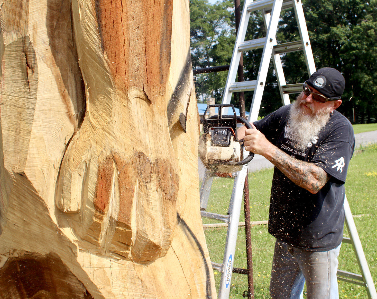 Chainsaw wizard featured on cnn for trump carving local