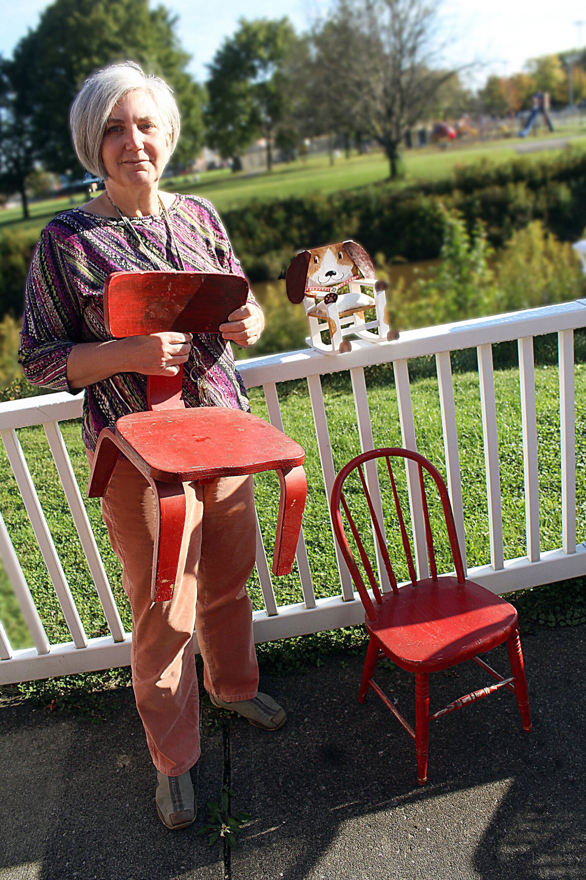 Kathleen Clement with chairs