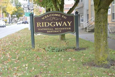 Town of Ridgway entrance stock photo