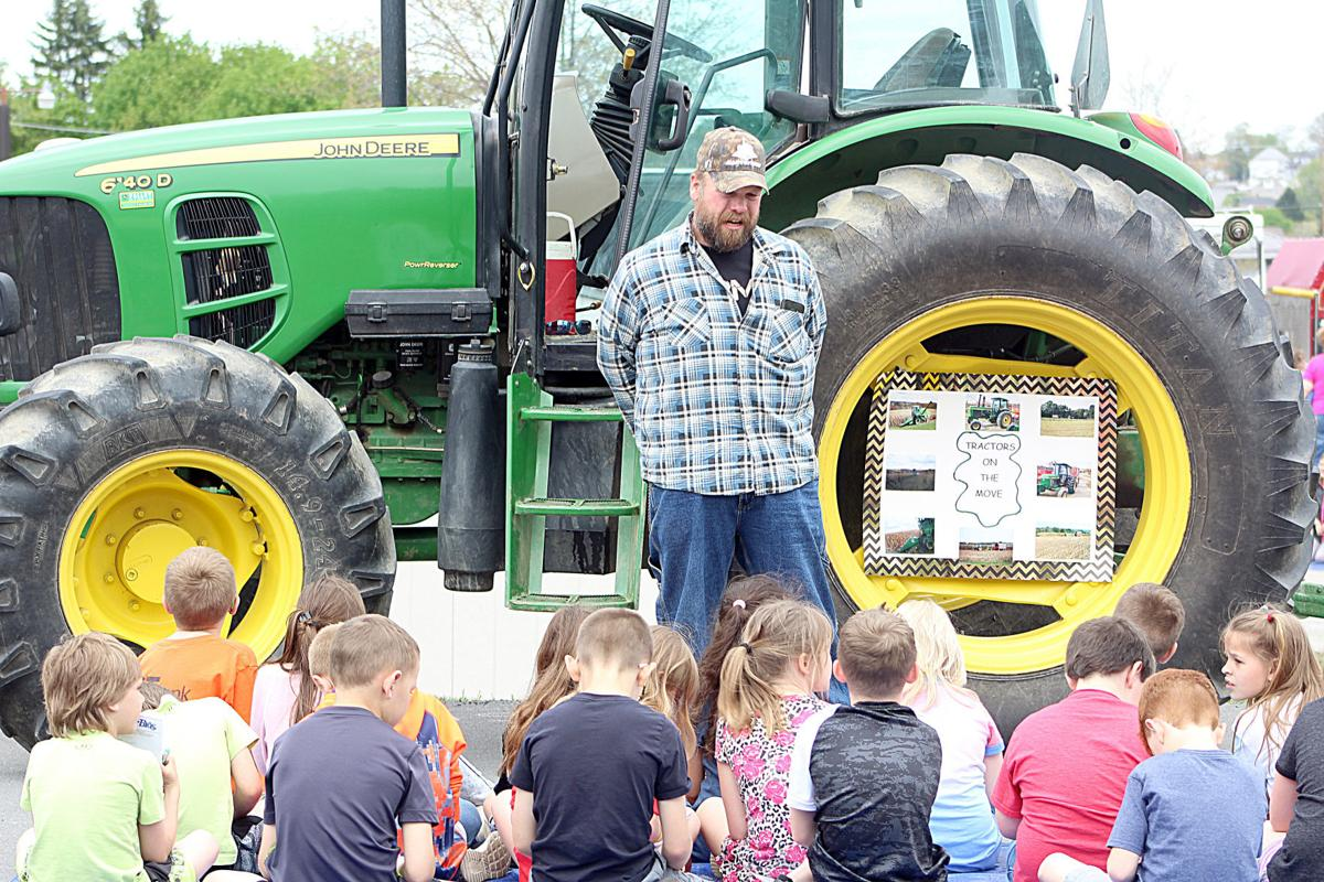 Farmer talks to students