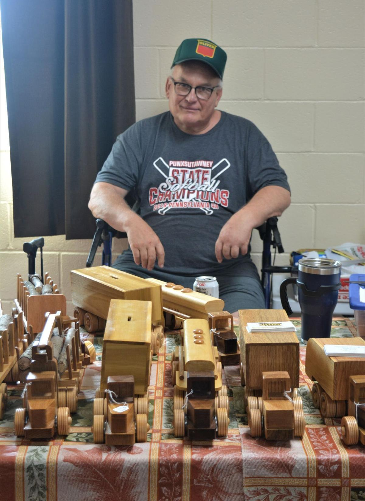 Alvin Knarr with wooden toys