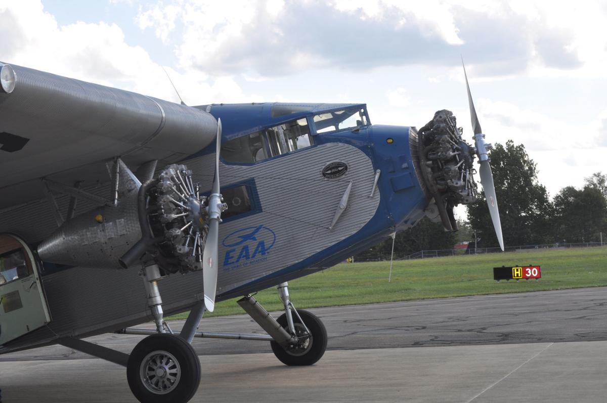 A 1929 Ford Tri-Motor lands at Franklin Regional Airport