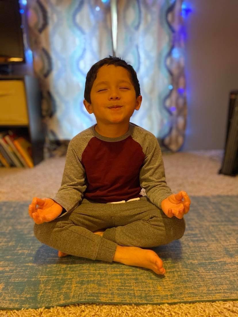 Maddox Aiello doing yoga