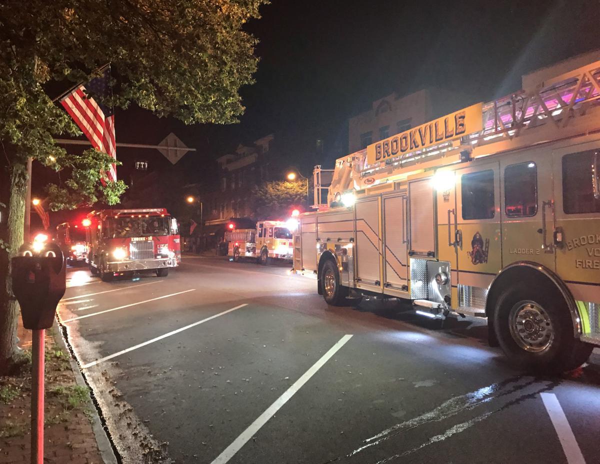 Fire trucks block Main Street