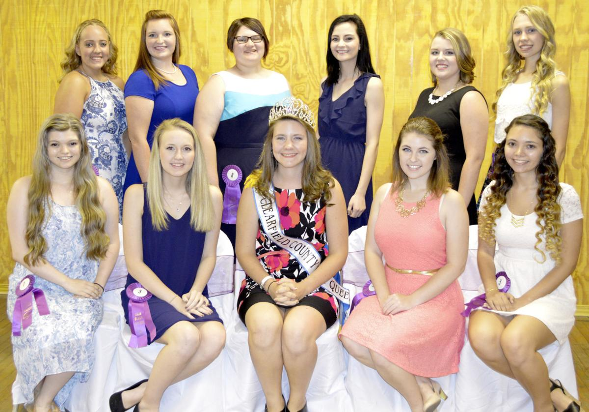 Clearfield County Fair Queen contestants with 2015 Fair Queen Abby Jamison