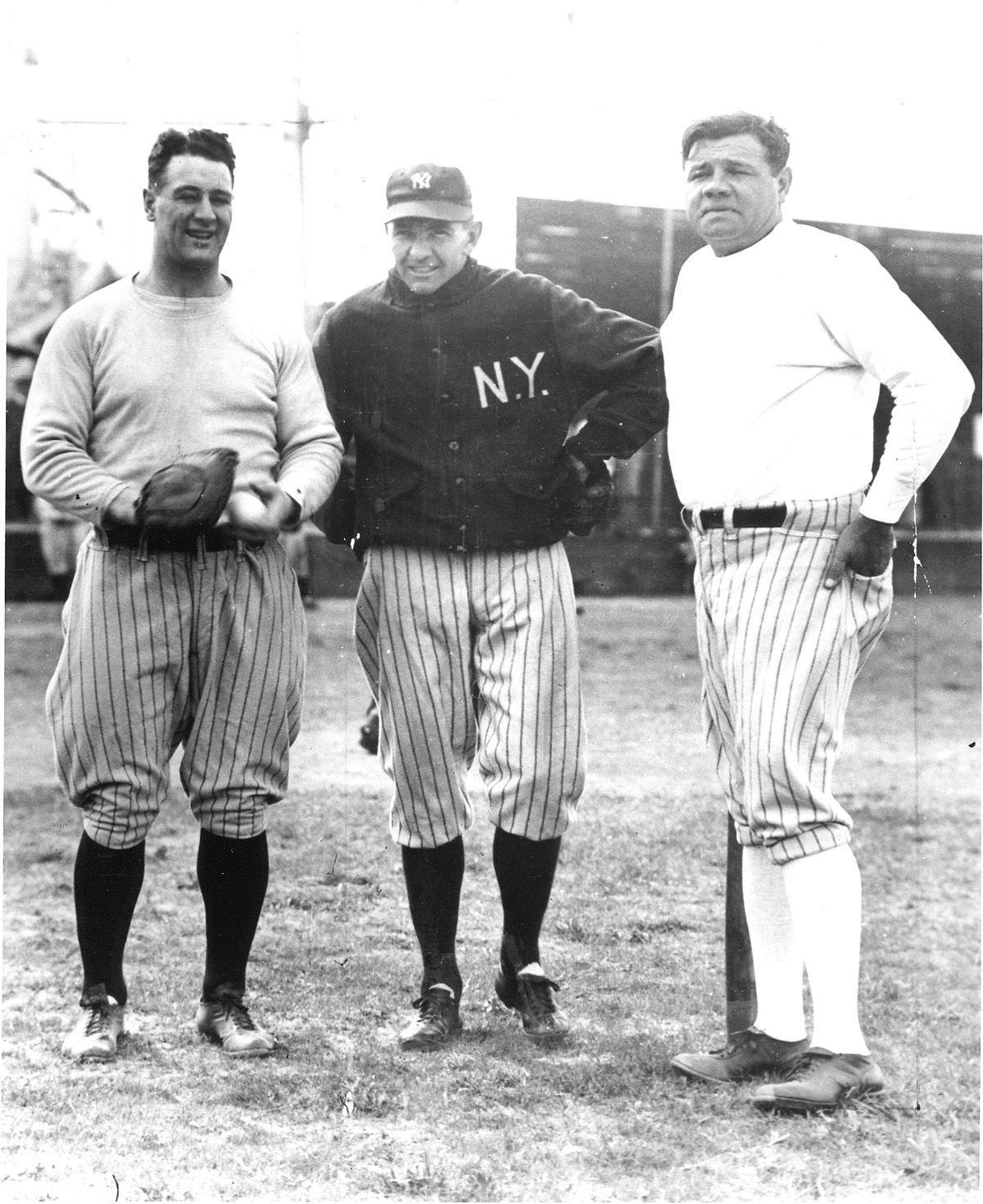 Shawkey with Gehrig and Ruth