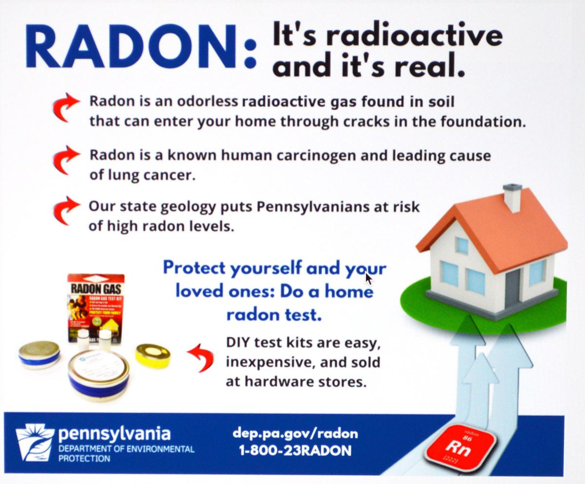 Photo of state DEP radon graphic