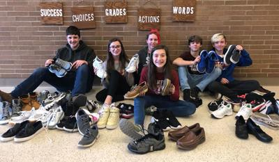 St. Marys Area Middle School students with shoes