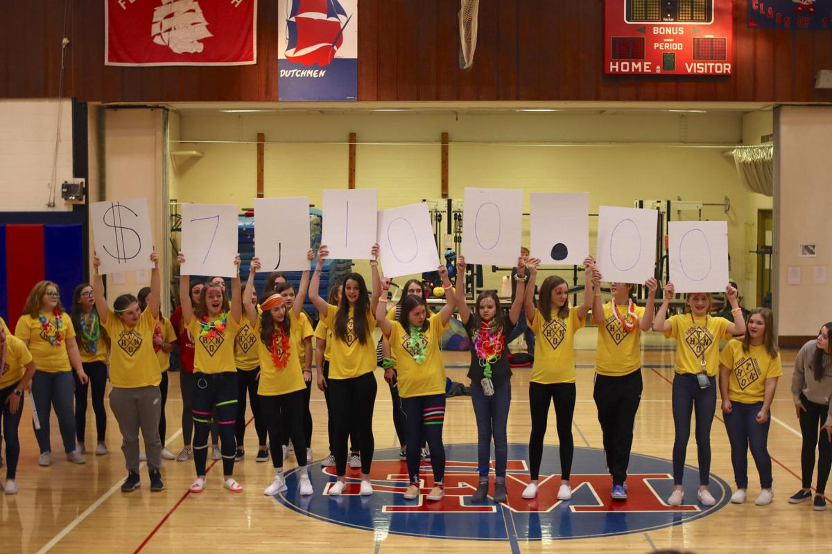 SMAMS students hold up signs at Mini-THON