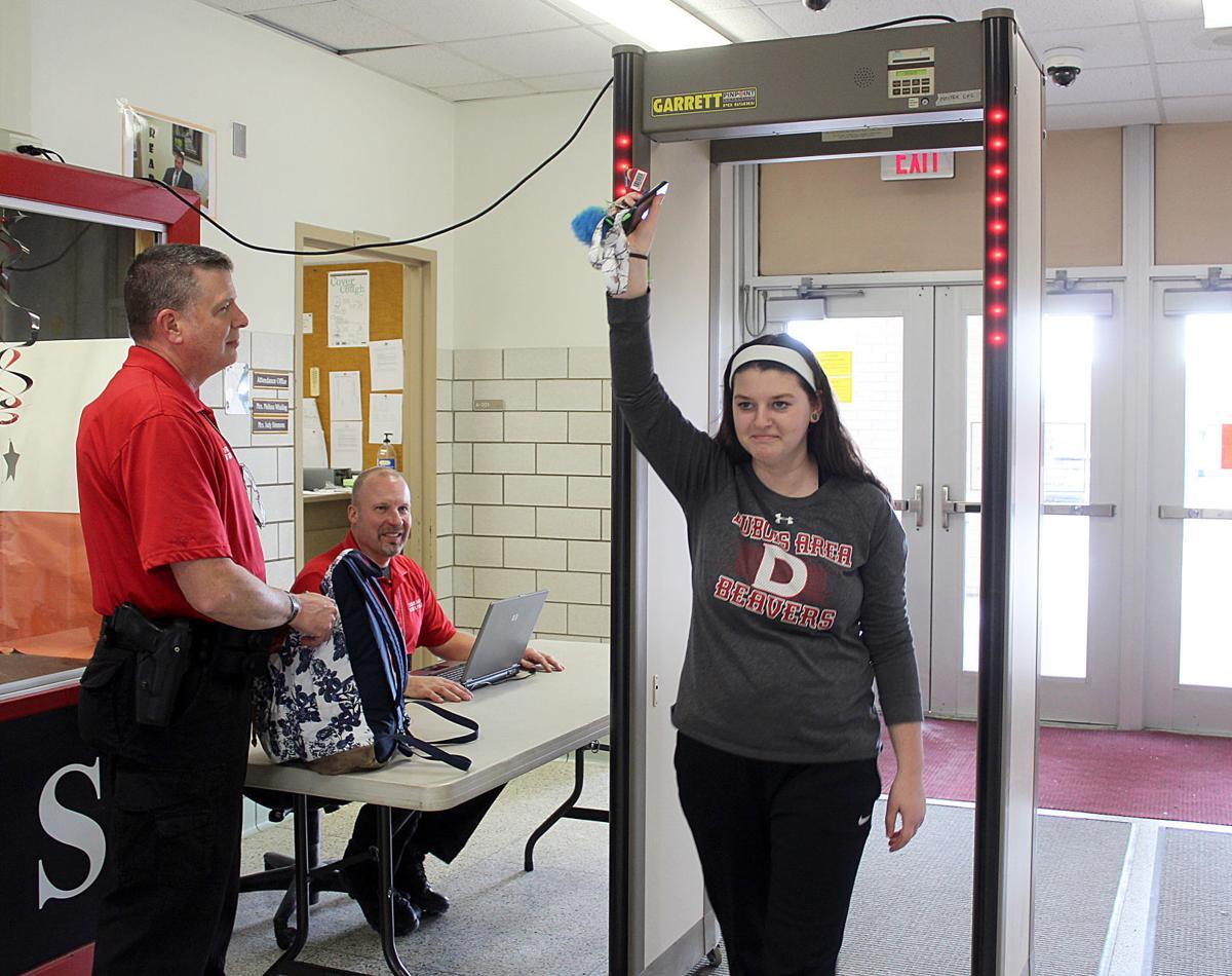 Walking through metal detector