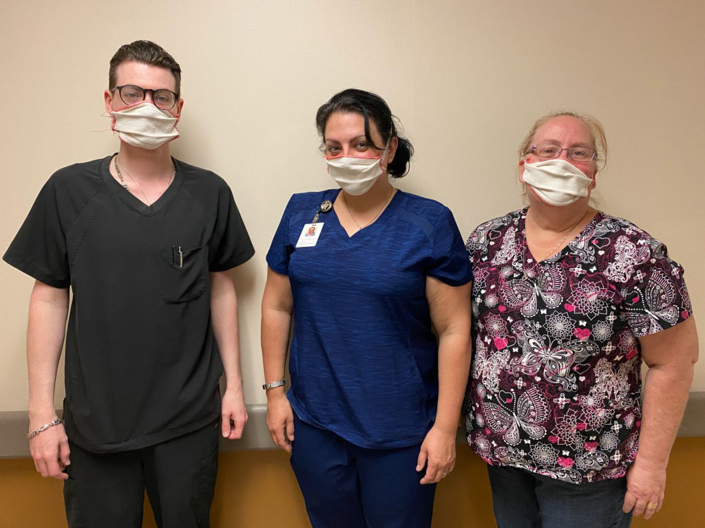 Highland View employees with masks