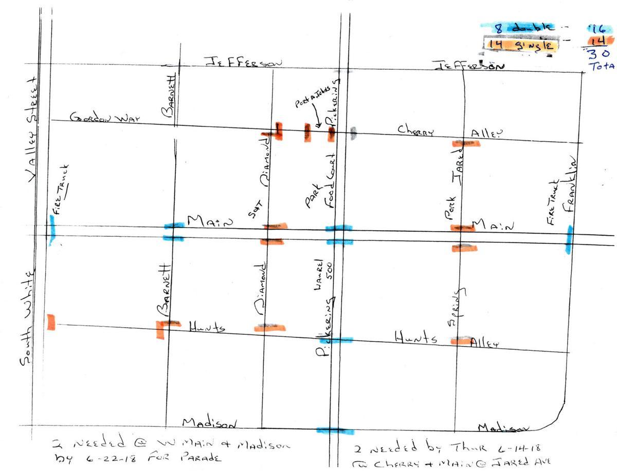 Map of barricades for Brookville Laurel Festival
