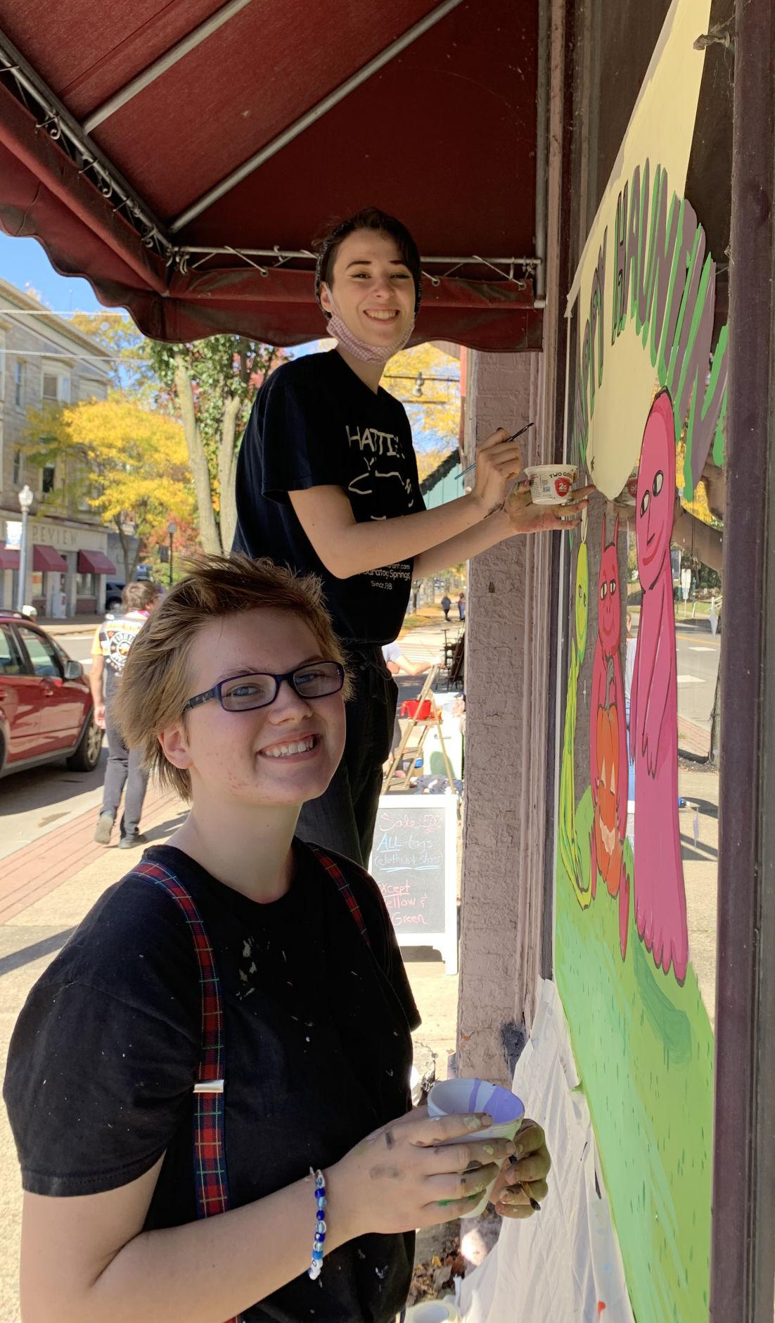 Window painters bring the Halloween spirit to Towanda Main Street