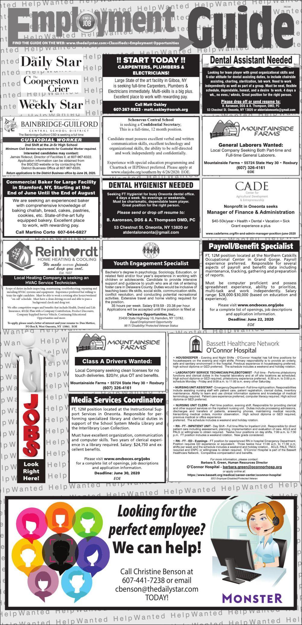 Employment Opportunities - 6/13/2020