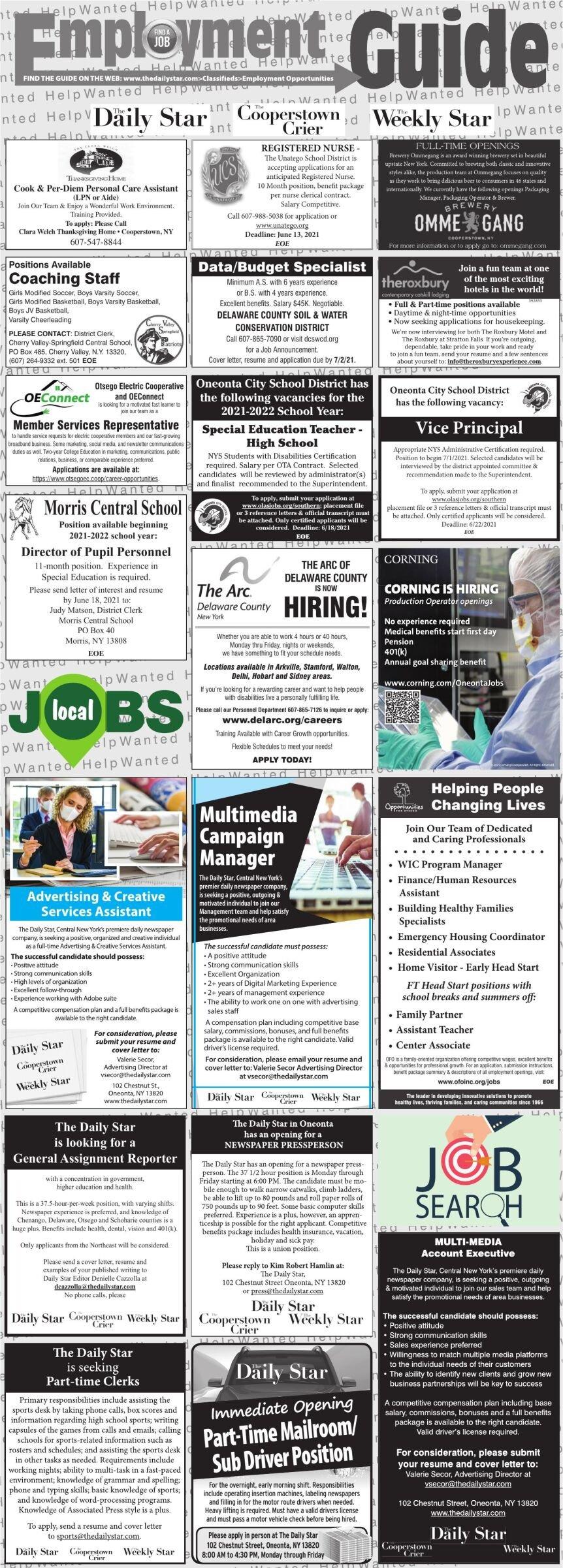 Employment Opportunities 6/12/2021