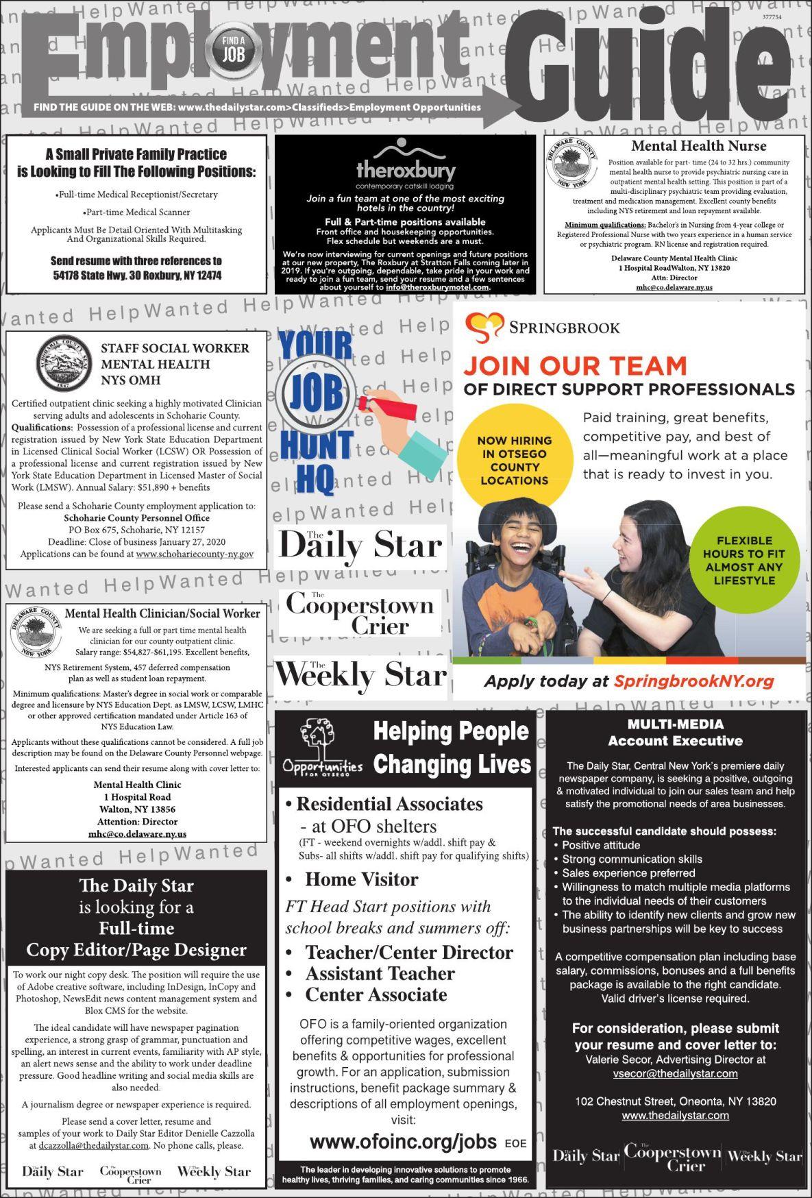Employment Opportunities - 1/18/2020