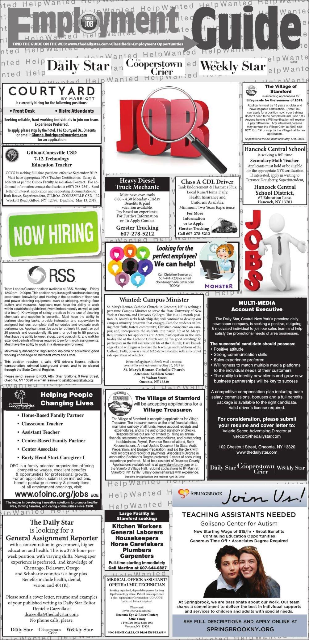 Employment Opportunities 4/18/19