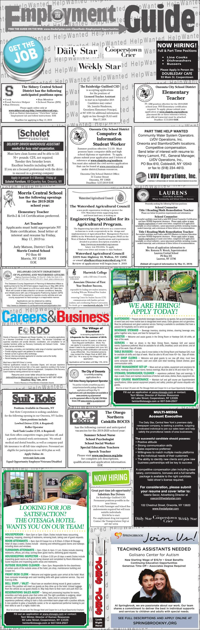 Employment Opportunities 5/4/2019