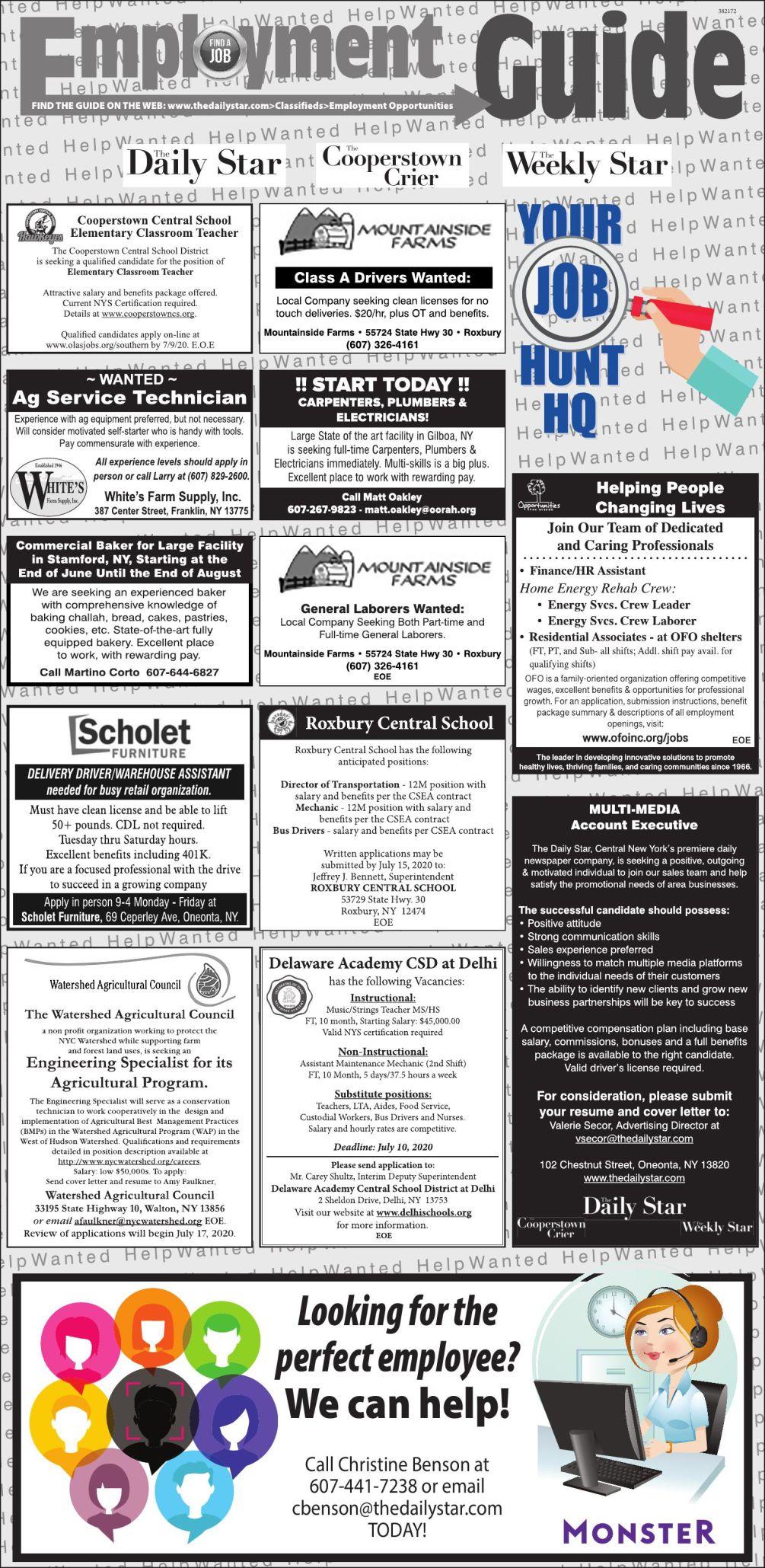 Employment Opportunities - 6/27/2020