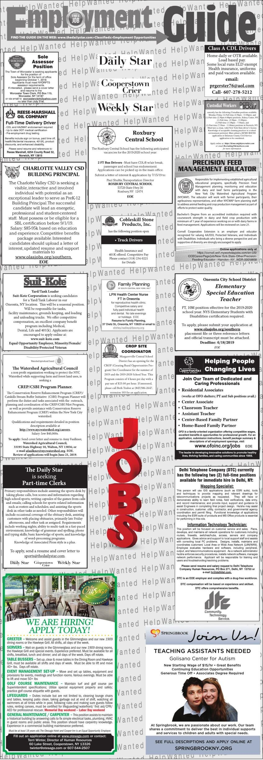 Employment Opportunities 6/15/19