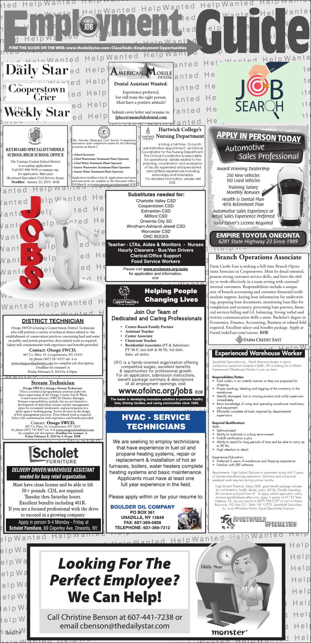 Employment Opportunities 1/19/2019