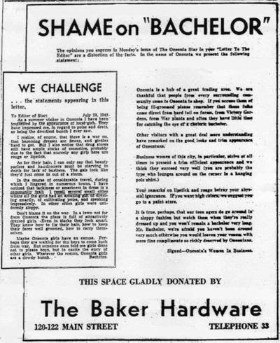 Backtracking: The Early Years: 'Bachelor' letter to editor struck nerves locally in 1945