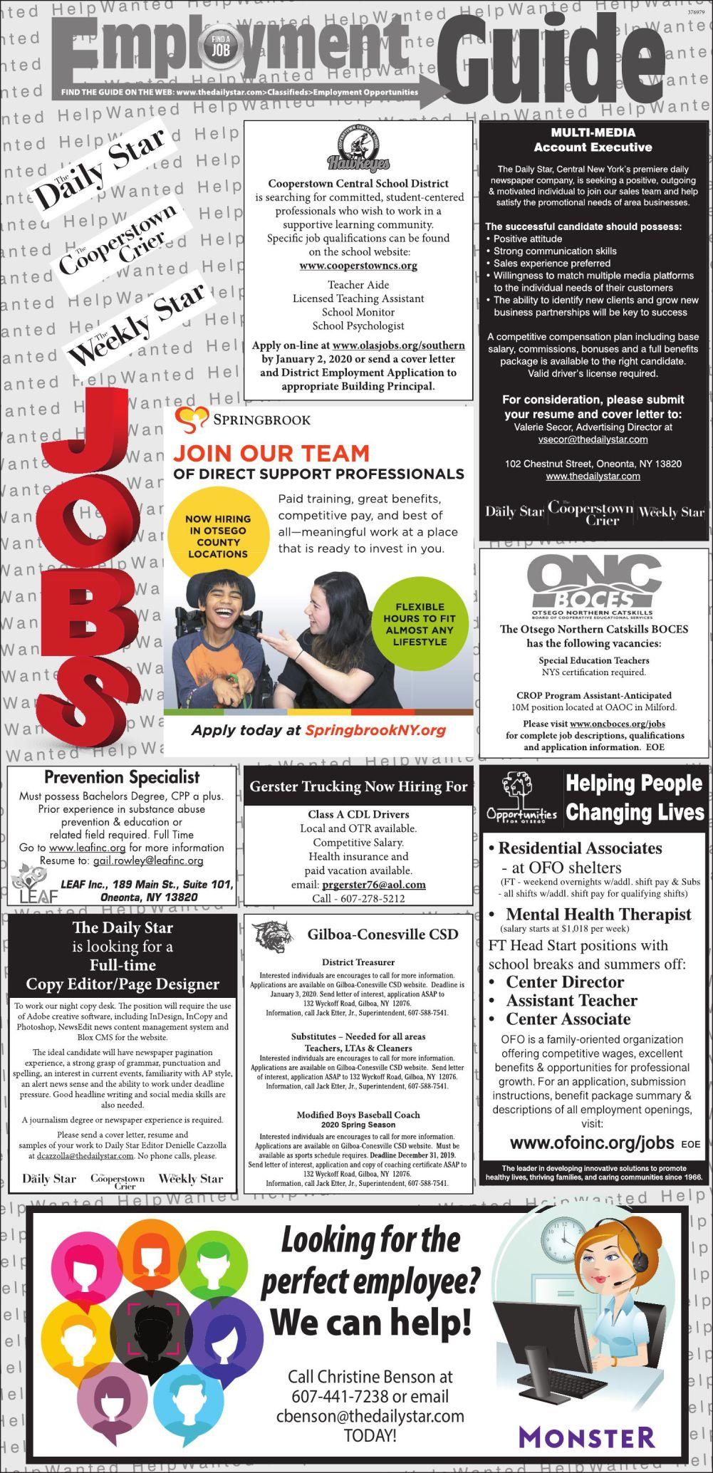 Employment Opportunities - 12/21/2019